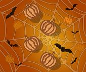 pic of spiderwebs  - Halloween background with pumpkins bats and spiderweb  - JPG
