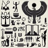 pic of hieroglyphic symbol  - Silhouettes of symbols and signs of ancient Egyptian culture - JPG
