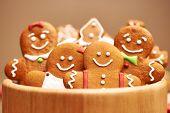 stock photo of tables  - Christmas homemade gingerbread cookies on table - JPG