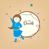 foto of diwali  - Little cute girl holding fire crackers and stylish text of Diwali for Diwali celebration on a rounded frame - JPG