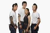 pic of rockabilly  - Group of Asian friends in rockabilly clothing - JPG
