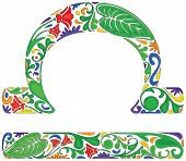 foto of libra  - Libra zodiac sign made of colorful floral elements - JPG