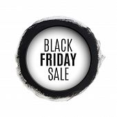 stock photo of friday  - Black friday sale round watercolor banner - JPG