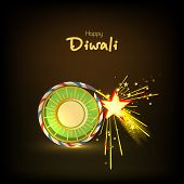 foto of diwali  - Stylish text of Diwali with exploding cracker for Diwali celebration on shiny background - JPG