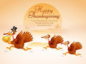 stock photo of happy thanksgiving  - Beautiful Thanksgiving Day celebrations concept with cute turkey bird family holding pumpkin - JPG