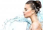 picture of cleanse  - Beautiful Model Woman with splashes of water in her hands - JPG