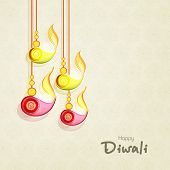 image of lakshmi  - Stylish hanging illuminated oil lit lamps and text of Diwali for Diwali celebration on seamless beige background - JPG