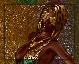 pic of halter-top  - African beauty against a gold glitter background - JPG