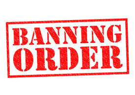 picture of bans  - BANNING ORDER red Rubber Stamp over a white background - JPG