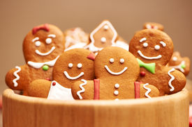 picture of icing  - Christmas homemade gingerbread cookies on table - JPG