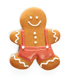 pic of gingerbread man  - Christmas gingerbread man cookie isolated on white - JPG