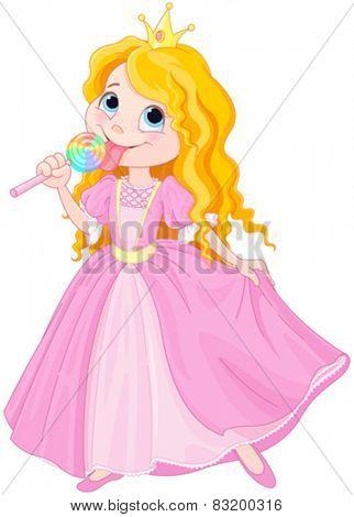 Illustration of cute princess licks lollipop