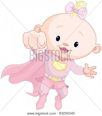 Illustration of very cute super baby girl