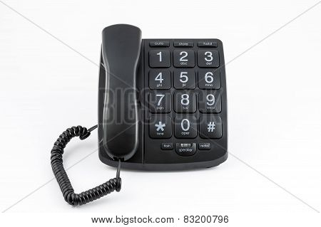 Black Big Button Telephone