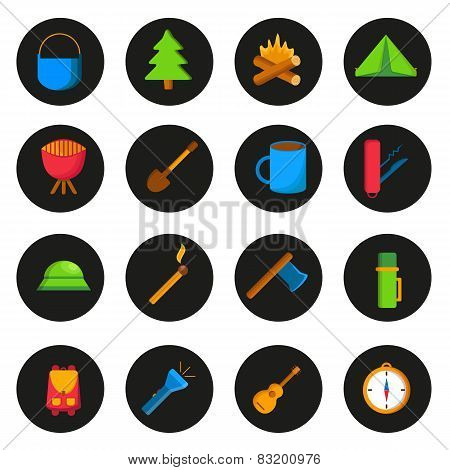 Set of cartoon camping icons