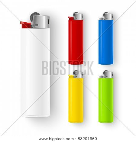 Set of color lighters isolated on white background. Vector