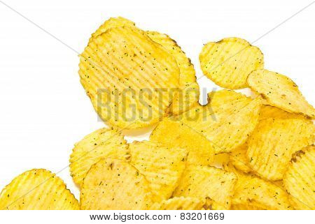 Tasty Corrugated Chips On White