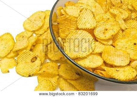 Some Corrugated Potato Chips Closeup