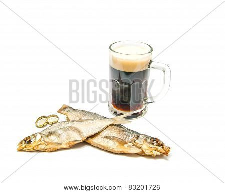 Salted Fishes And Dark Beer On White