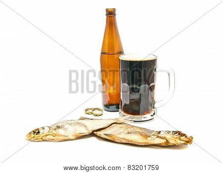 Two Salted Fishes And Beer Closeup