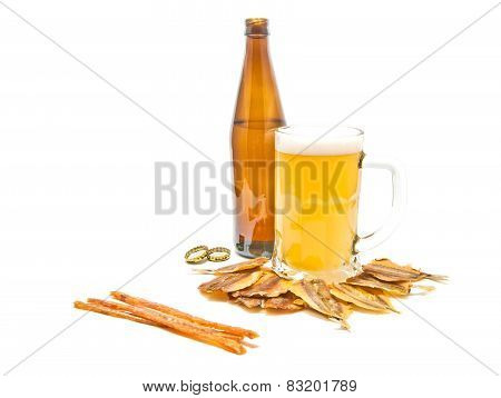 Different Salty Fishes And Light Beer