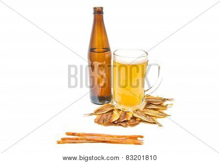 Different Fish Appetizer And Light Beer