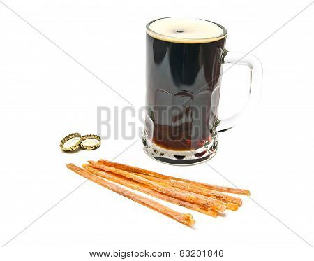 Mug Of Dark Beer And Fish Snack