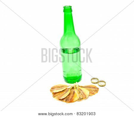 Bottle Of Beer And Fish Snack