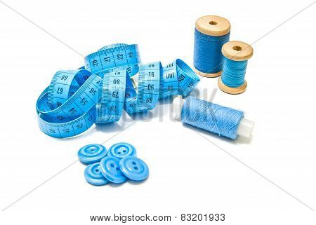 Spools Of Thread, Buttons And Blue Meter