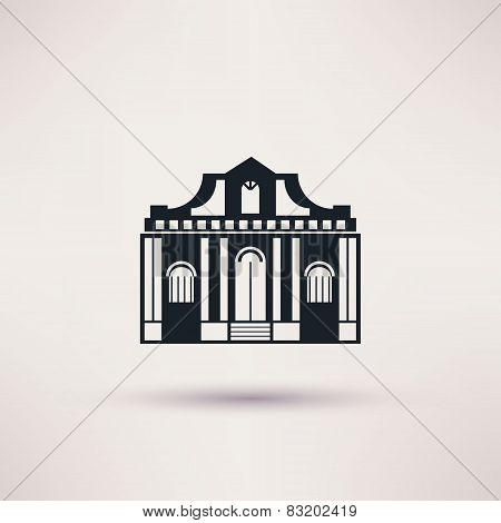 Museum building. Art icon flat isolated vector.