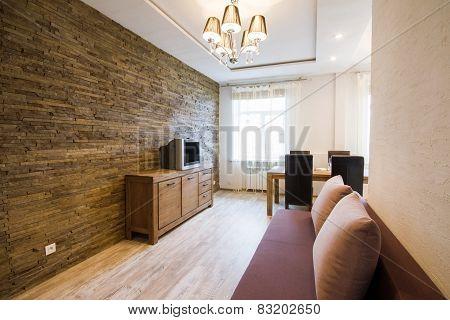 Modern interior of a living room studio.
