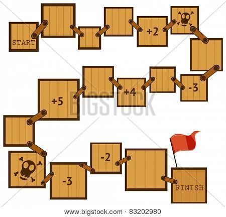 Illustration of a boardgame template with wooden moves