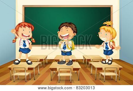 Illustration of students standing in the classroom