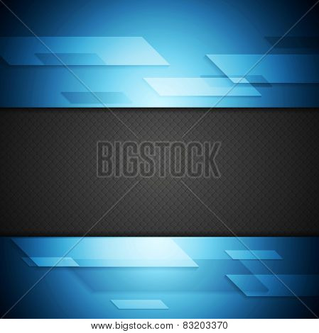 Blue and black tech background. Vector design
