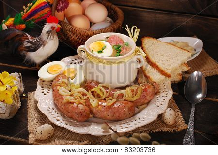 Easter White Borscht And Sausage On Rural Wooden Table