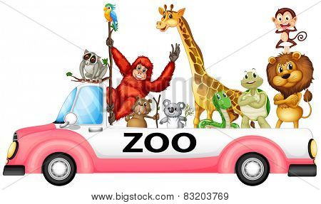 Illustration of many animals on a pick up truck