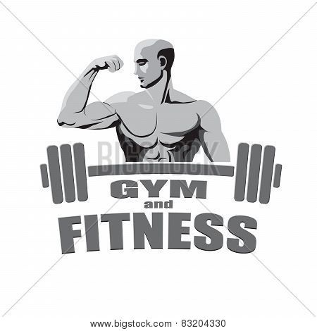Fitness Gym Logo Mockup Bodybuilder Showing Biceps Isolated On White Background