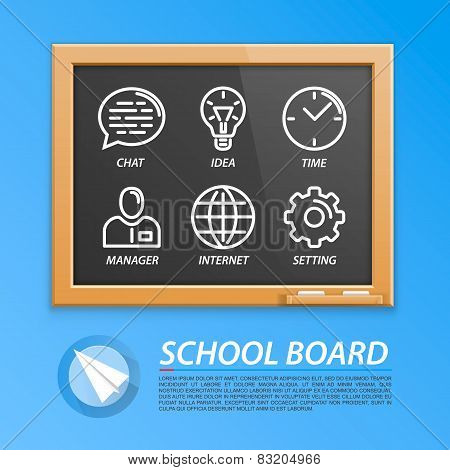 School wooden board with icons