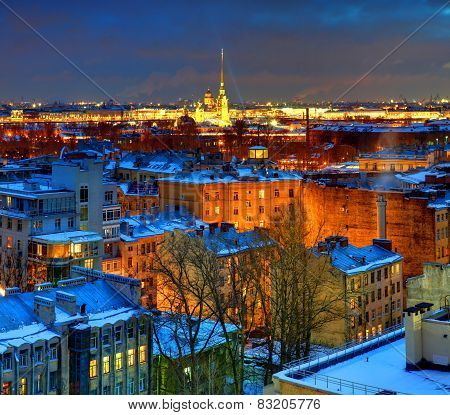 Russia, Saint-petersburg, Top View Of The City At Night. Cathedral Of Peter And Paul Fortress In St.