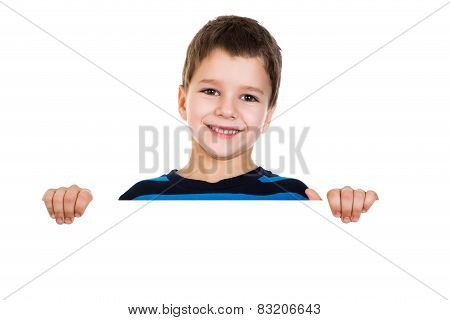 Boy Peek Out From White Banner