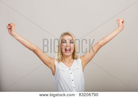 Blonde Girl Spreading Hands With Joy,