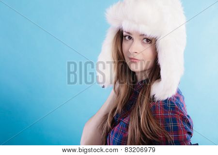 Woman In Winter Clothing Fur Cap