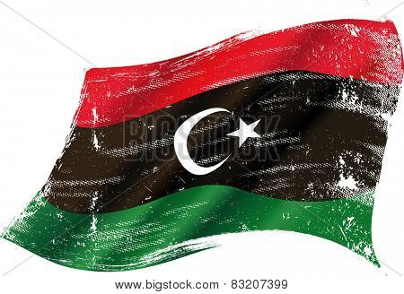 Libyan grunge flag. flag of Libya in the wind with a texture