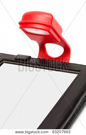 reader with a flashlight on a white background