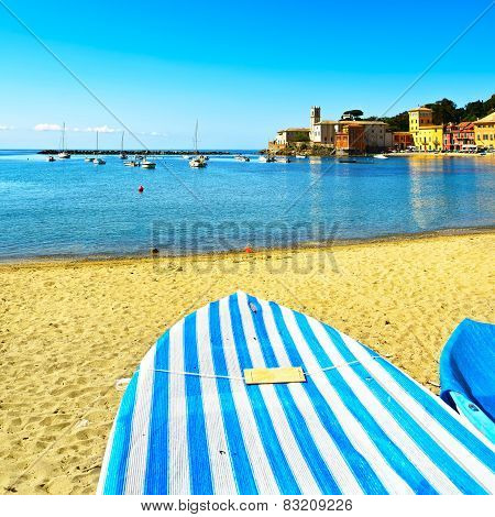 Sestri Levante, Silence Bay Sea, Boat And Beach View. Liguria, Italy