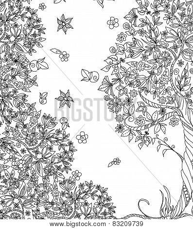 Tree, flowers and floral design elements, Sketch set
