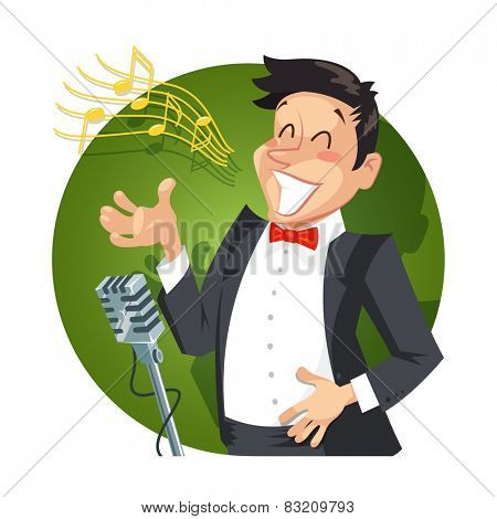 Singer sing with microphone. Eps10 vector illustration. Isolated on white background