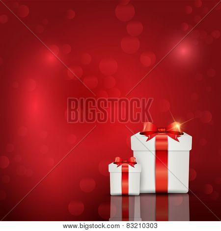 Gift box background on bokeh lights background