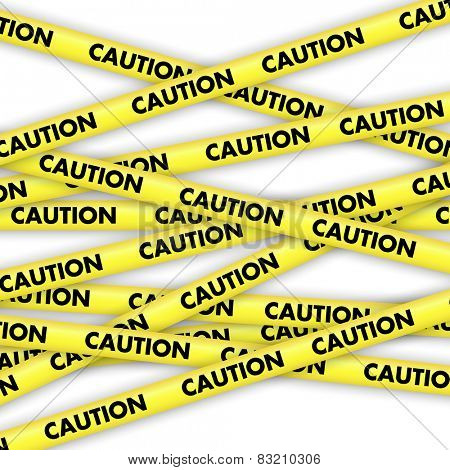 Background with lengths of yellow tape with caution written on it