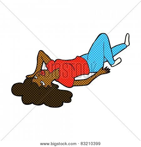 retro comic book style cartoon woman lying on floor